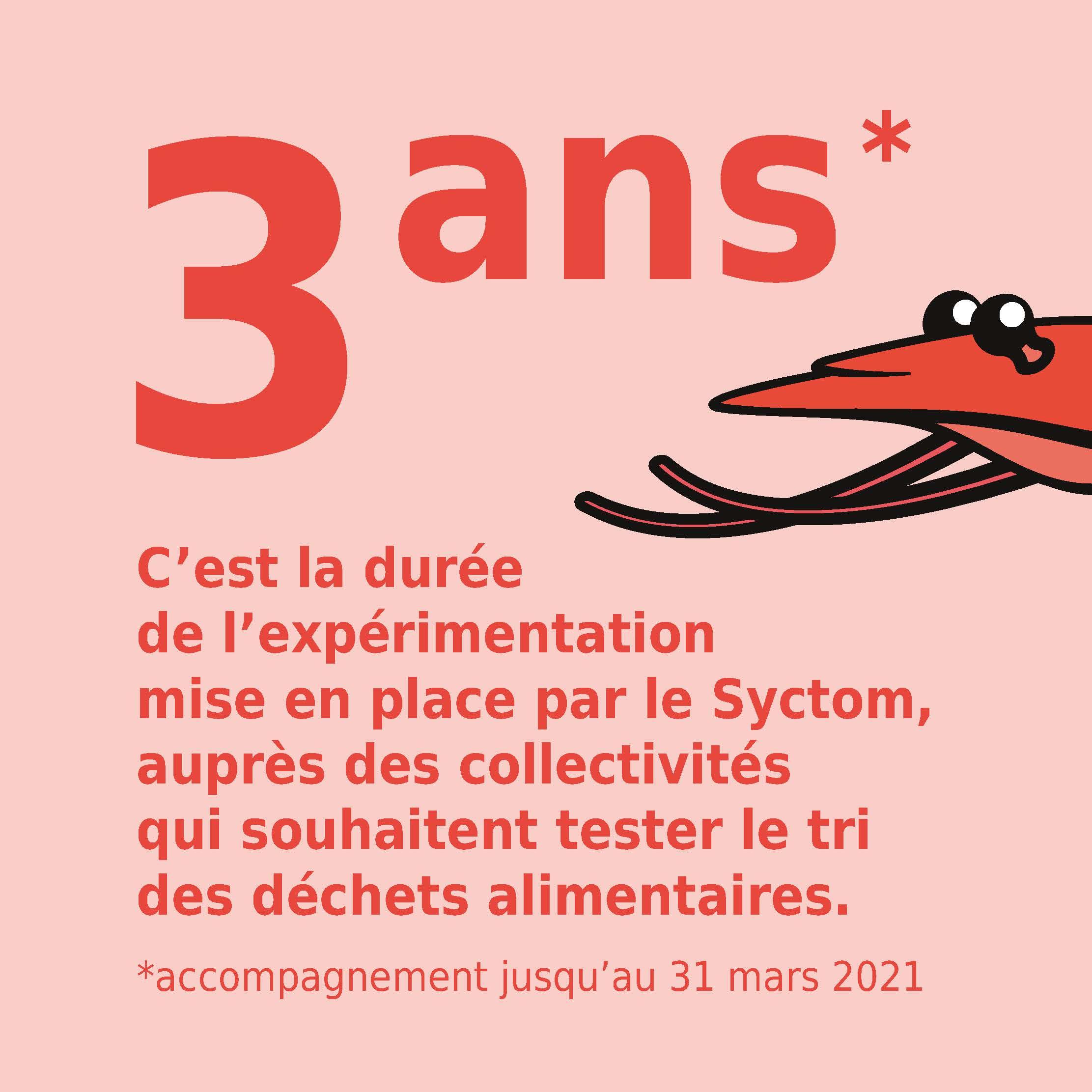 3 ans C'est la durée de l'expérimentation mise en place par le Syctom, auprès des collectivités qui souhaitent tester le tri des déchets alimentaires